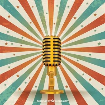 Micrófono retro de oro