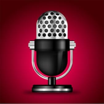 Micrófono sobre fondo rosa