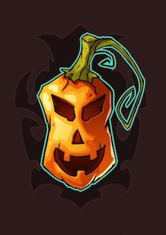 Miedo calabaza de Halloween en estilo de dibujos animados