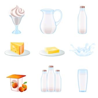 Milk iconos realistas conjunto