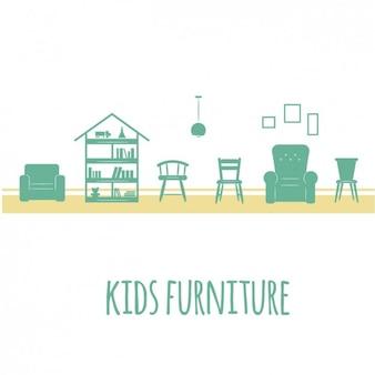 Mobiliario verde de niños