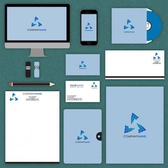 Mock up de papelería corporativa azul