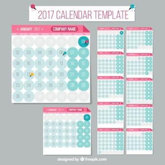 Modelo de calendario 2017 con círculos