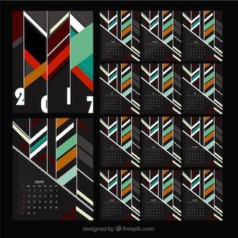 Modelo de calendario de 2016 abstracto con rayas