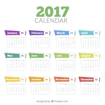 Modelo de calendario de 2017 en estilo abstracto