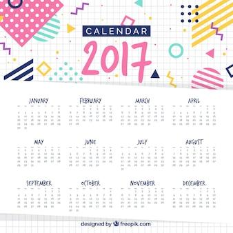 Modelo de calendario de 2017 en estilo memphis