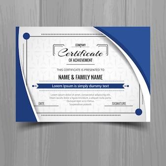 Modelo de certificado ondulado azul