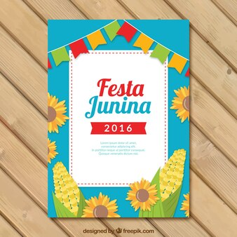 Modelo de folleto de fiesta junina con girasoles y maíz