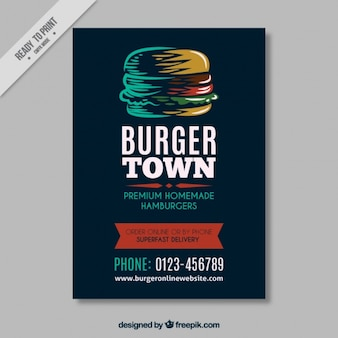 Modelo de folleto vintage con hamburguesa dibujada a mano