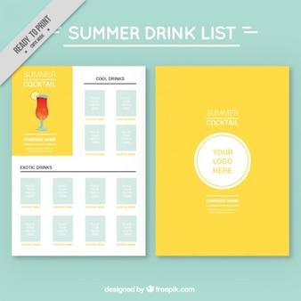 Modelo de lista de bebida d verano
