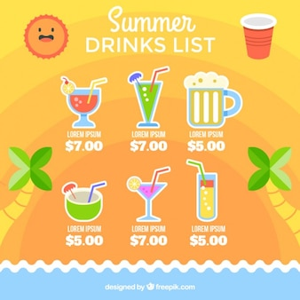 Modelo de lista de bebidas veraniegas