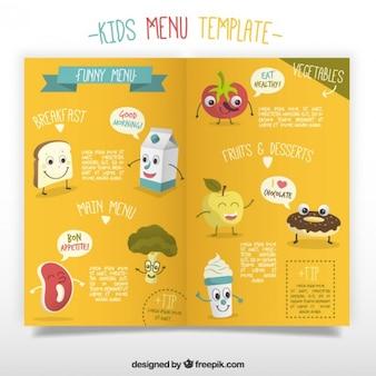 Modelo de menú de niños con divertidos alimentos