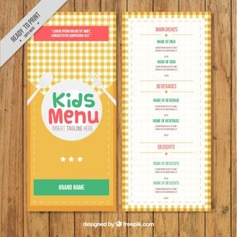Modelo de menú de niños con un mantel