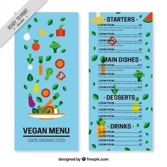 Modelo de menú vegano azul con ensalada