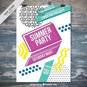 Modelo de poster de fiesta de verano en diseño plano