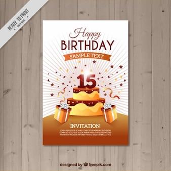 Modelo de tarjeta de cumpleaños marrón