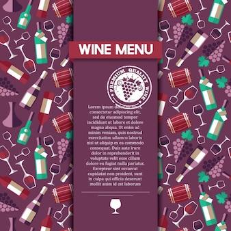 Modelo de tarjeta de menú de vino