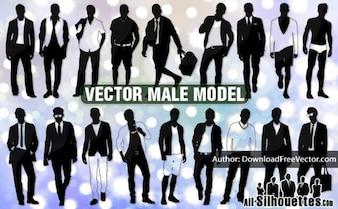 Modelos de vectores siluetas masculinas todos