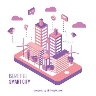Moderna ciudad isométrica rosa y morada