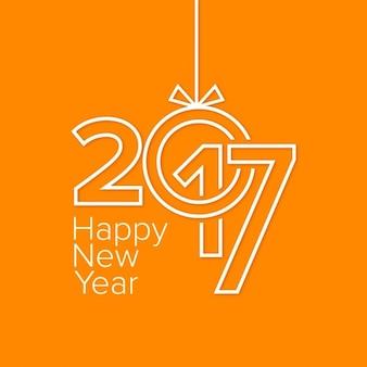 Moderna tarjeta de año nuevo naranja