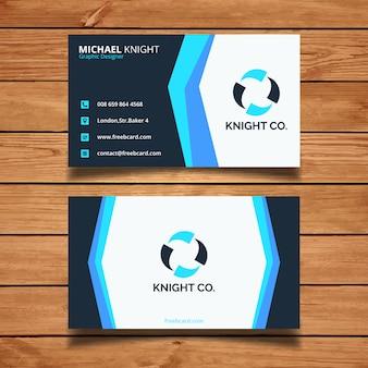 Moderna tarjeta de visita con tonos azules