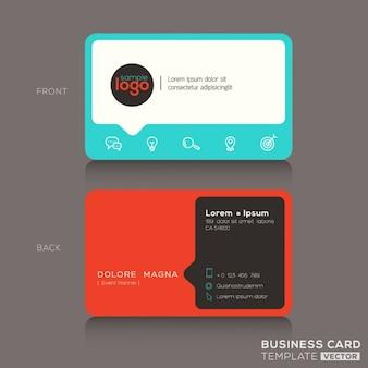 Moderna tarjeta de visita roja y azul