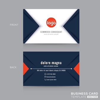 Moderna tarjeta de visita triángular en azul oscuro