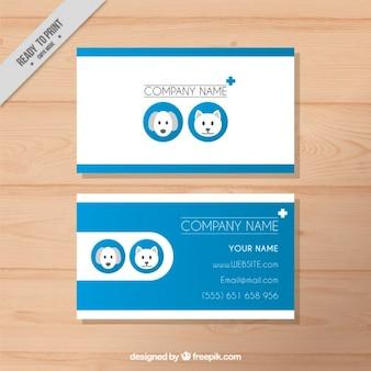 Moderna tarjeta veterinaria azul