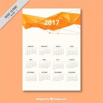 Moderno calendario 2017 con diseño poligonal