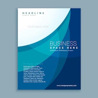 Moderno folleto azul con formas onduladas