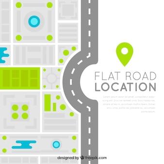 Moderno mapa de carretera en diseño plano