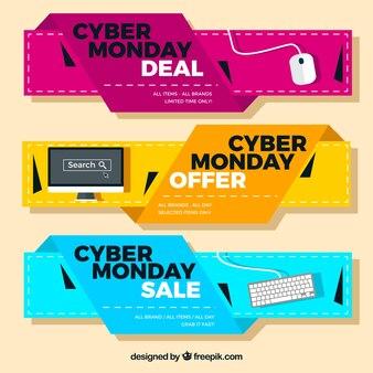 Modernos banners de ofertas de ciberlunes