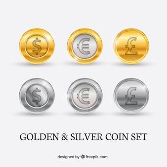 monedas de oro y plata paquete