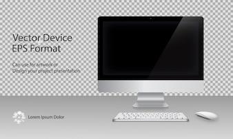 Monitor de la computadora, teclado y ratón con la pantalla negra aislada. Se puede utilizar para la presentación de plantillas y Banner. Conjunto de dispositivos. Gadget Mock Up. Ilustración vectorial.
