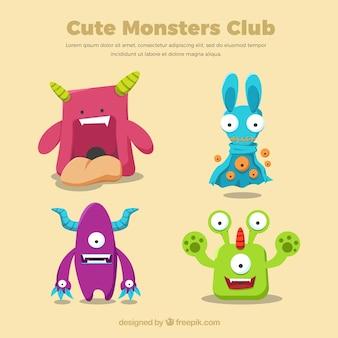 Monstruos lindos de dibujos animados