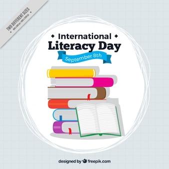 Montaña de libros para el día de la alfabetización
