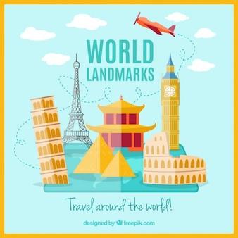 Monumentos del mundo en diseño plano