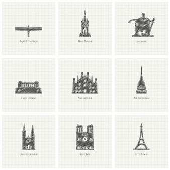 Monumentos dibujados a mano, conjunto