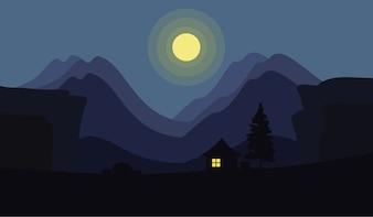 Moonlight en las montañas en la vista de la noche, las montañas y el paisaje del acantilado en el estilo plano