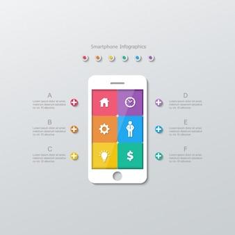 Móvil con aplicaciones en cuadrados de colores