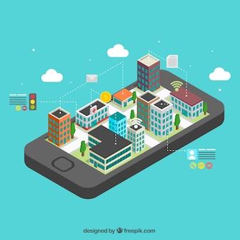 Móvil con ciudad moderna isométrica