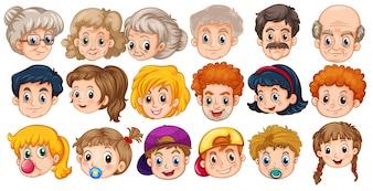 Muchas caras de personas en diferentes edades