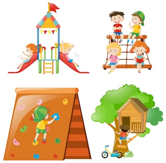 Muchos niños jugando en diferentes estaciones de juegos