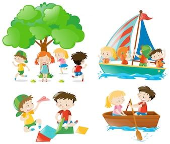 Muchos niños jugando y haciendo diferentes actividades
