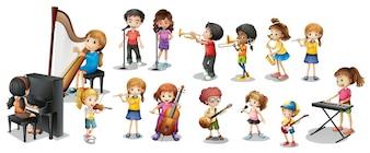 Muchos niños que juegan diferentes instrumentos musicales