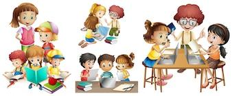 Muchos niños que realizan diferentes actividades