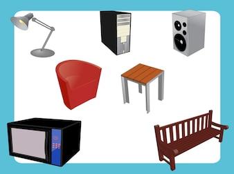 Muebles set electrodomésticos de diseño de interiores