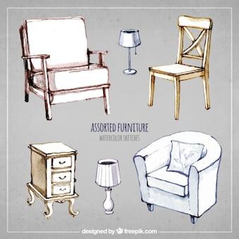 Muebles variados en estilo pintado a mano