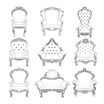 Muebles vintage en blanco y negro