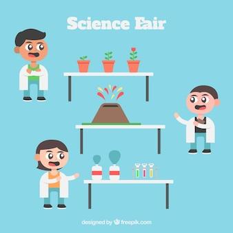 Muestra de ciencia con niños científicos